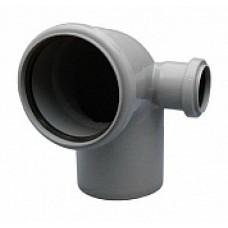 Отвод внутренней канализации 110х90˚ с выходом 50 левый